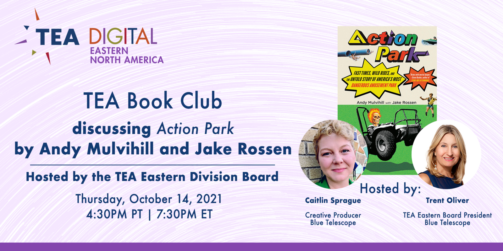 TEA Book Club discussing ACTION PARK by Andy Mulvihill and Jake Rossen