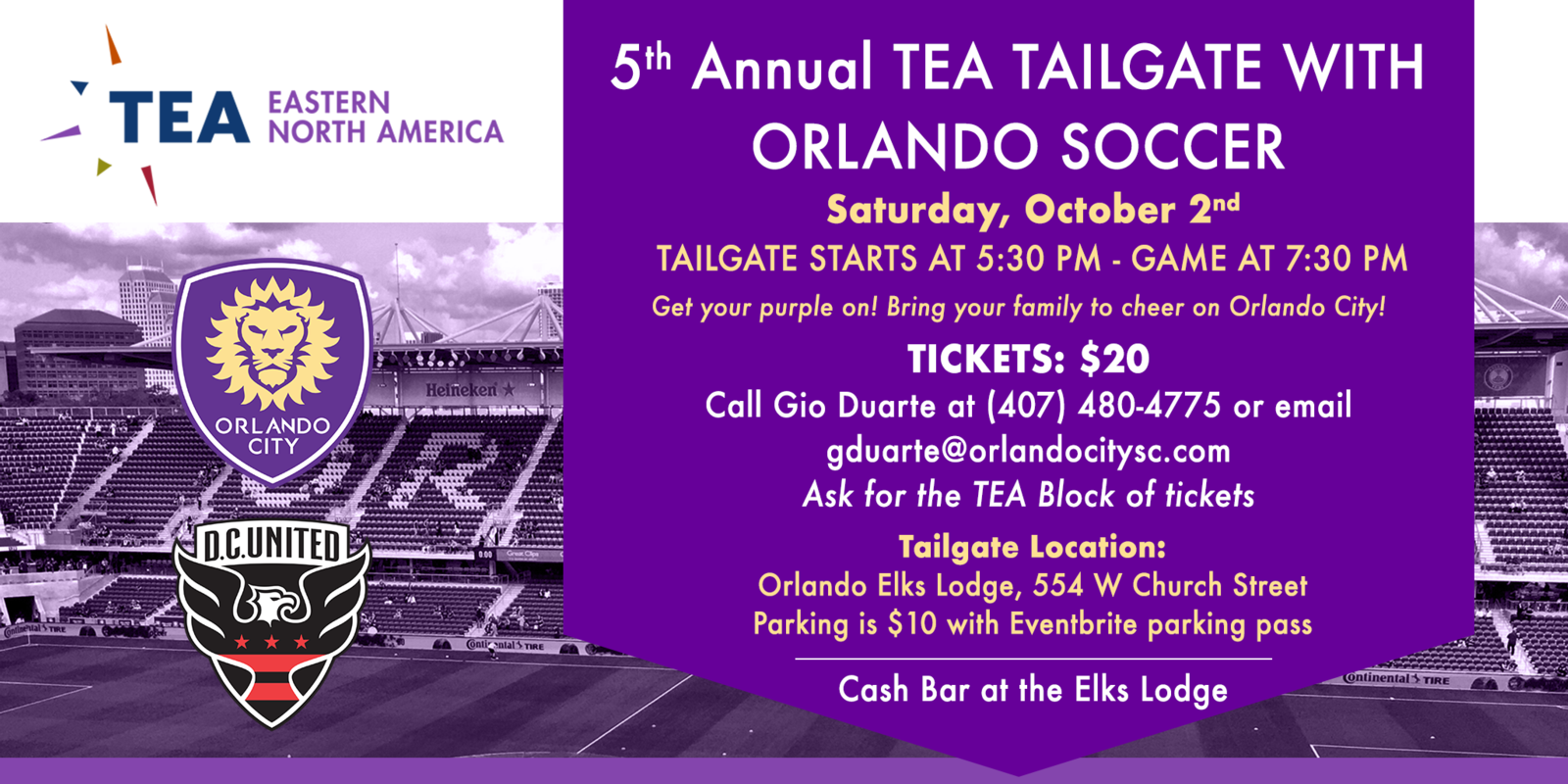5th Annual TEA Tailgate with Orlando Soccer