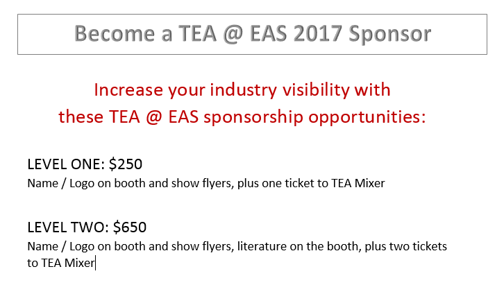 TEA @ EAS Sponsorships