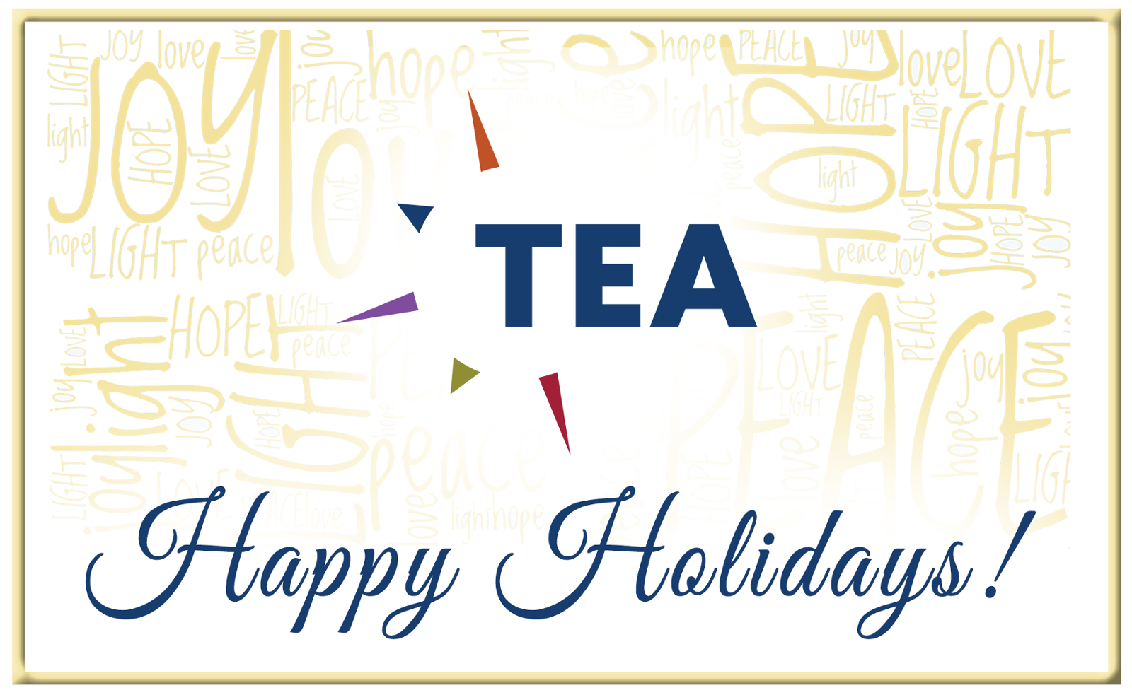 TEA holiday greeting and hours, Dec 2020-Jan 2021
