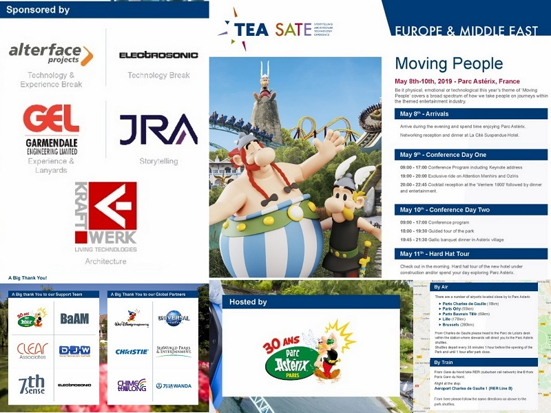 Attend, network, learn, present, sponsor -- TEA SATE Europe at Parc Asterix (France) 8 -10 May