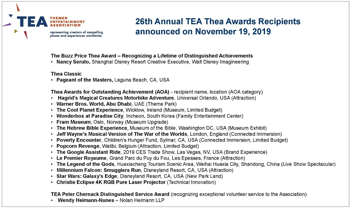 Recipients and press celebrate recent TEA Thea Awards announcements