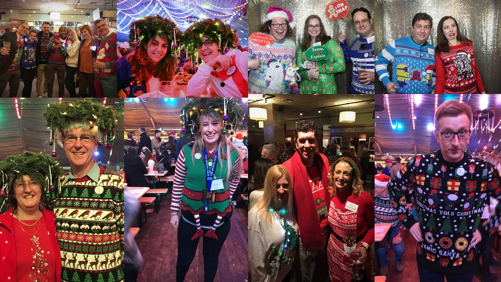 Orlando and London and NYC, Dec 2017: TEA Ugly Holiday Sweater competition on two continents!